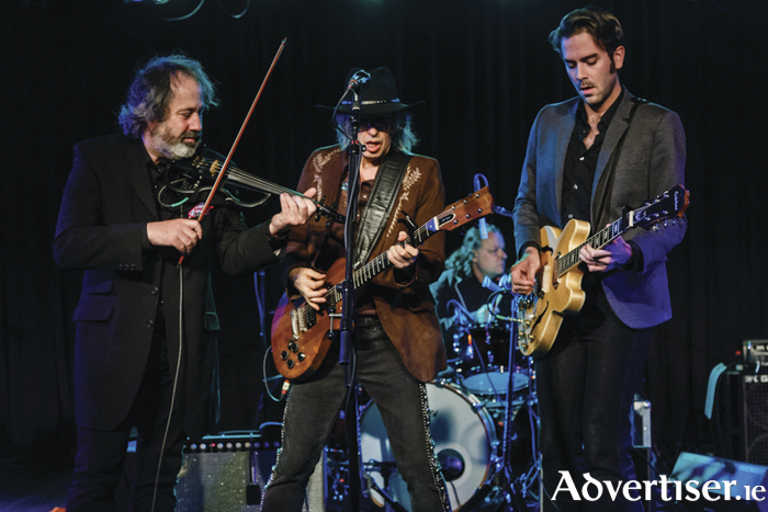 The Waterboys' Steve Wickham and Mike Scott with Texan guitarist Zach Ernst in concert in Virginia earlier this year.