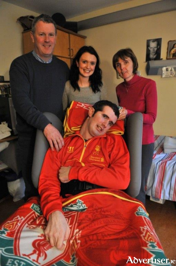 Shane Grogan pictured with his family; father and mother Joe and Joan, and sister Sarah. Picture; Ray Ryan.