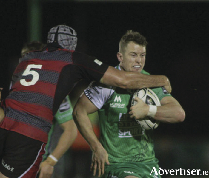 Connacht's Matt Healy is tackled by Edinburgh's Fraser McKenzie in action from the Guinness Pro12 game at the Sportsground on Saturday. Photo:-Mike Shaughnessy