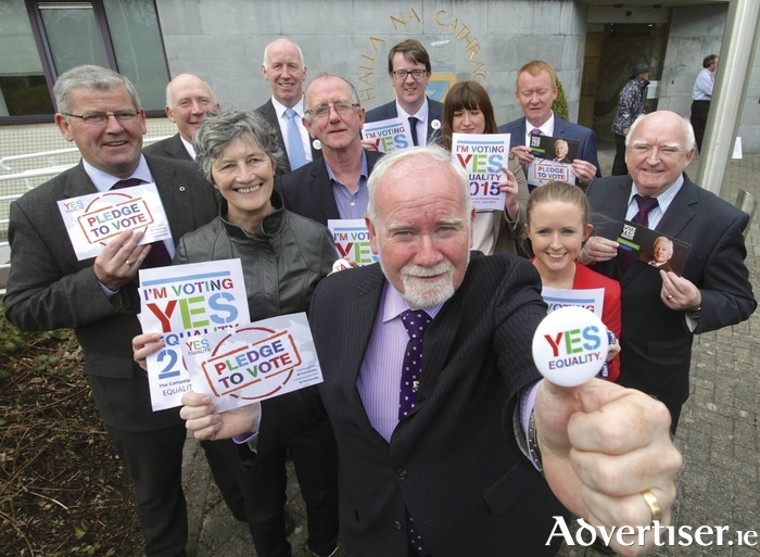 Galway City Councillors and Mayor Donal Lyons supporting YesEquality Campaign ahead of last May's referendum. Photo:-Mike Shaughnessy.