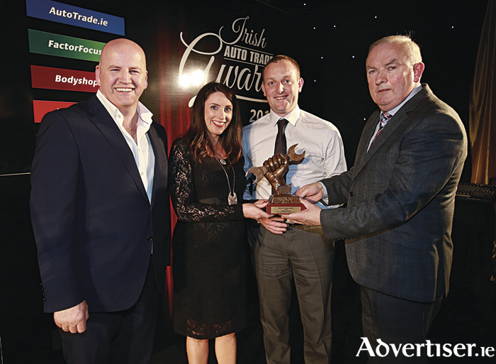 At the awards ceremony are Sean Gallagher (Dragons Den), Sinead Healy (General Manager, Frank Byrnes Autobody Repair), Pat Delaney (Workshop Manager, Frank Byrnes Autobody Repair), Padraic Deane (Managing Editor, Auto Trade Journal)
