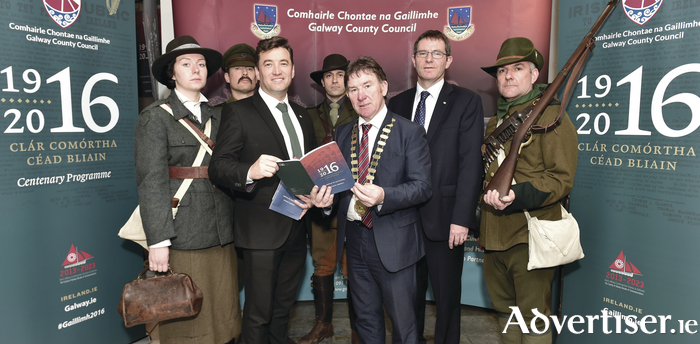 John Concannon, director Ireland 2016, Cllr Peter Roche, Cathaoirleach of County Galway, Kevin Kelly, CEO Galway County Council, with members of Claoimh, at the launch of the 1916 Centenary Programme at County Hall.