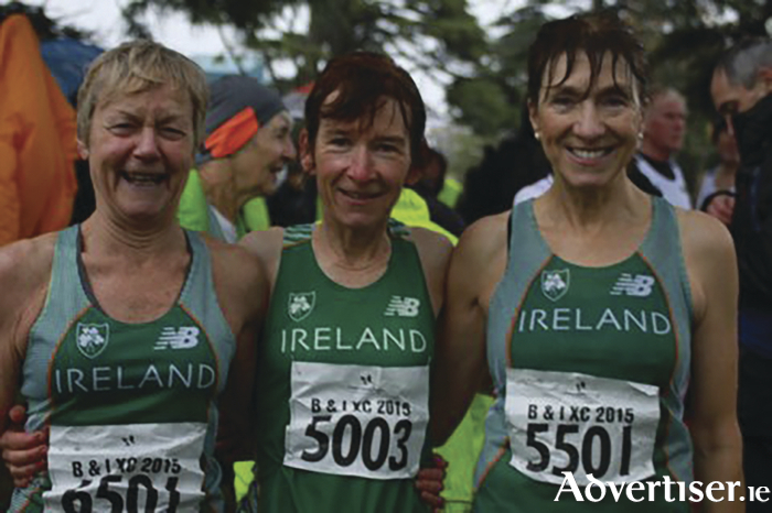 Mayo AC trio Mags Glavey, Angela O'Connor, Pauline Moran  in their Irish vests at the Britain and Ireland Masters Cross Country Competition.