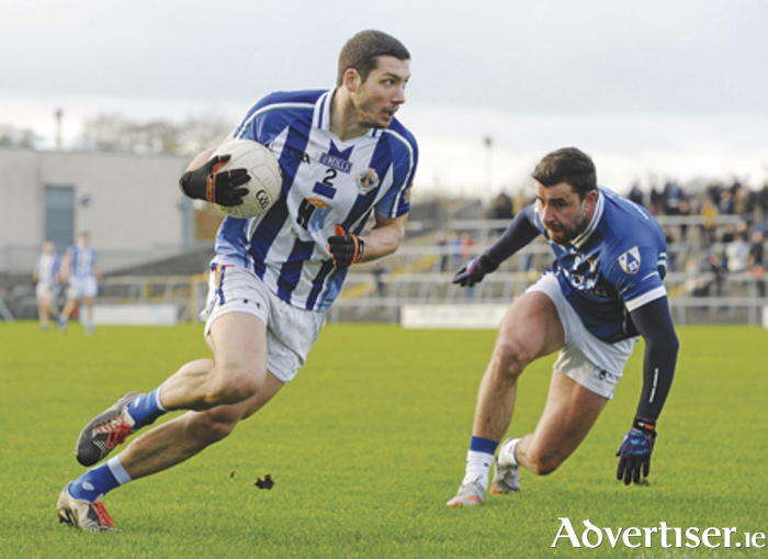 Bob Dwan, Ballyboden St Enda's, in action against Paul Sharry, St Loman's, in the AIB Leinster GAA Senior Club Football Championship Semi-Final in Cusack Park. Picture credit: Seb Daly/SPORTSFILE
