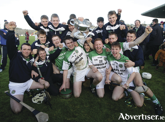 Sarsfields celebrate winning the Galway Senior Hurling Championship final replay at Pearse Stadium on Sunday, overcoming Craughwell to win their first title since 1997.      Photo:-Mike Shaughnessy