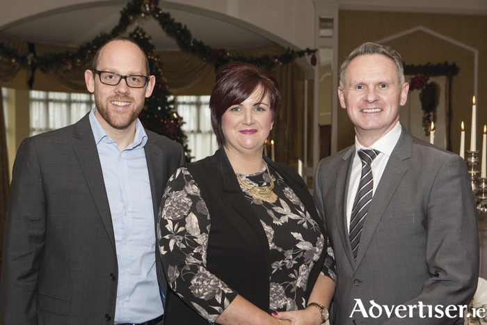 Guest speakers Padraig Roache and Tim Colleran pictured with Siobhan Carroll at the ACT for Meningitis 2020 Vision luncheon in The Ardilaun hotel to announce plans of the future development and building of Aoibhe's House.  Pic: Martina Regan