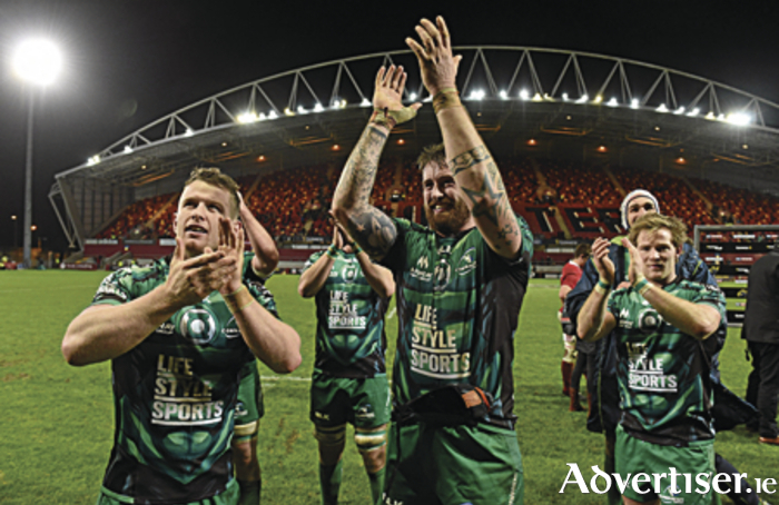 Connacht players iMatt Healy, Aly Muldowney and Kieran Marmion celebrate after the first victory over Munster in Thomond Park since 1986.					 Picture credit: Diarmuid Greene / SPORTSFILE
