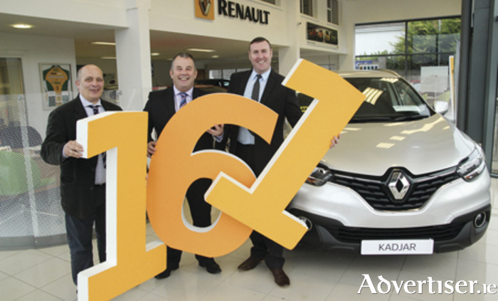 Gary Mills, Enda Cantrell and Ray Cafferkey of Bradley Renault launching their 161 offers for Renault customers.
