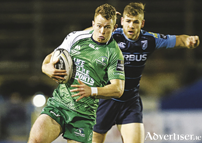 Connacht's Matt Healy, who was forced to take over as scrum half, runs through the Cardiff Blues' defence at Arms Park. Picture credit: Gareth Everett / SPORTSFILE