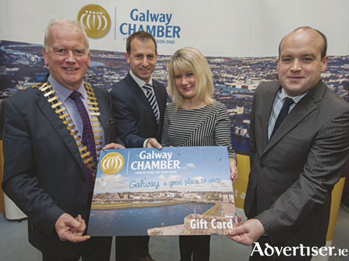 Pictured at the launch of Galway Chamber's new gift card are Frank Greene, president of Galway Chamber of Commerce, Dave Walsh, One4all, Maeve Joyce, general manager of Galway Chamber of Commerce, and  Aengus Burns, treasurer Galway Chamber of Commerce