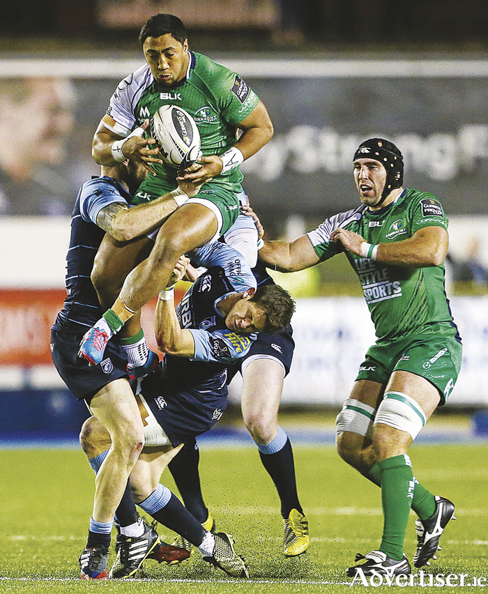 Livewire Bundee Aki supported by captain John Muldoon, the first player to make his 200th Pro 12 appearance,  in action Arms Park. Aki (ankle) and Muldoon sat out training earlier in the week, but are hopeful for tomorrow evening's European fixture.  Picture credit: Gareth Everett / SPORTSFILE