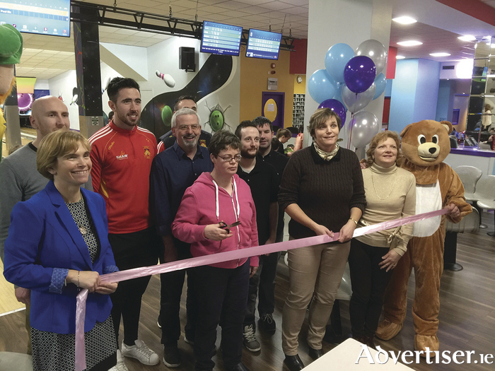 Guest of honour Special Olympics bronze medal winner Martina Walsh cuts the ribbon at the reopening of Mayo Leisure Point in Castlebar.