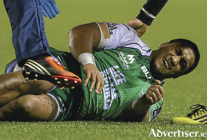 Bouncing back: Bundee Aki, will be looking to lead Connacht back to winning ways against the Falcons. Photo: Sportsfile