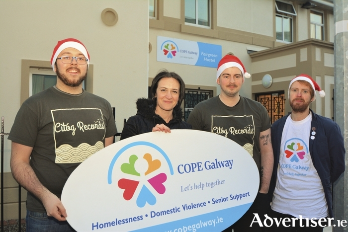 Adrian Lyons, David Hickey, and Steven Sharpe of Citóg Records, with Bernice Kirwan of COPE Galway.