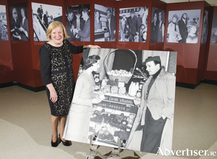 Ann Coyne (78), originally from Kilmallock, Co. Limerick, now living in Oranmore, Co. Galway, who is captured in one of the iconic images in the exhibition, the 1950s photograph with Hollywood star Gene Kelly in the airport's duty free - the first airport duty free shop in the world. Picture: Diarmuid Greene/Fusionshooters