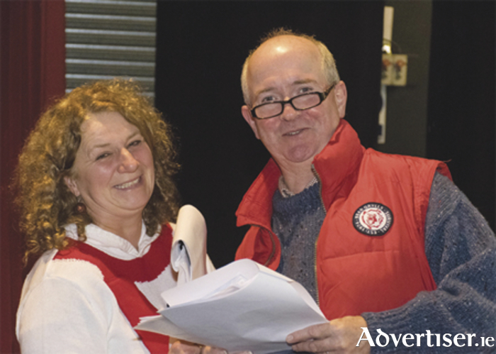 Anne Hoey (King Thor) and Benny Irwin (Doctor Nolaf) in rehearsal for the Dean Crowe Christmas panto 'Frozen Solid'