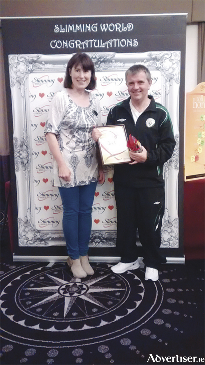Slimming World's Mr Sleek, Fergus Rowan, with group leader Sinead Morris