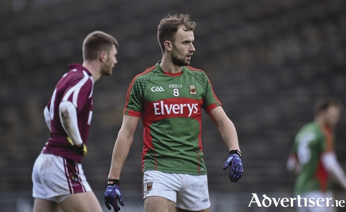 Man in the middle: Jason Gibbons put in an impressive shift for Mayo in the middle of the park. Photo: Sportsfile