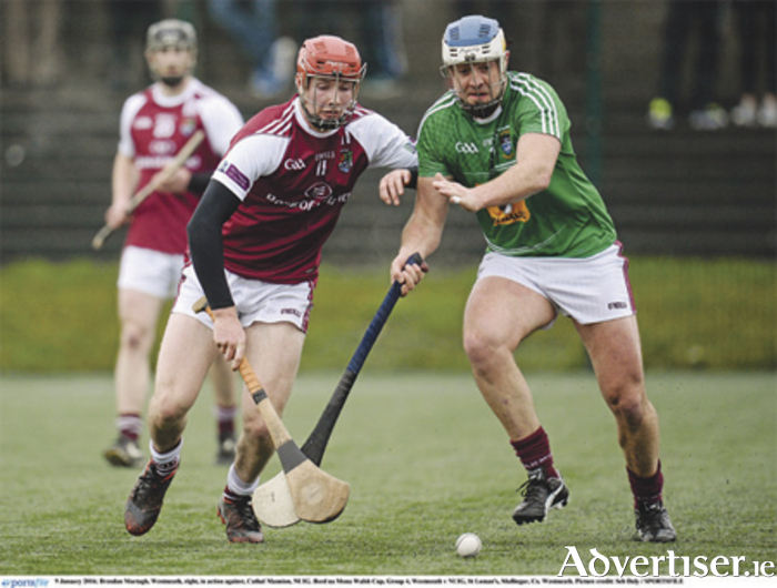 Westmeath's Brendan Murtagh in action against Cathal Mannion, NUIG, in the Bord na Mona Walsh Cup, Group 4 tie in Mullingar. Photo: Seb Daly/SPORTSFILE