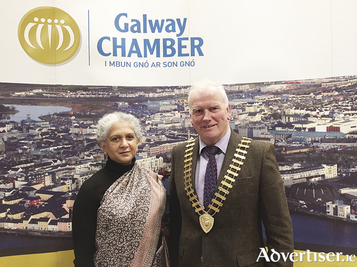 Pictured on her recent visit to Galway Chamber was the Indian Ambassador to Ireland, Her Excellency Mrs Radhika Lal Lokesh with president of Galway Chamber Frank Greene.