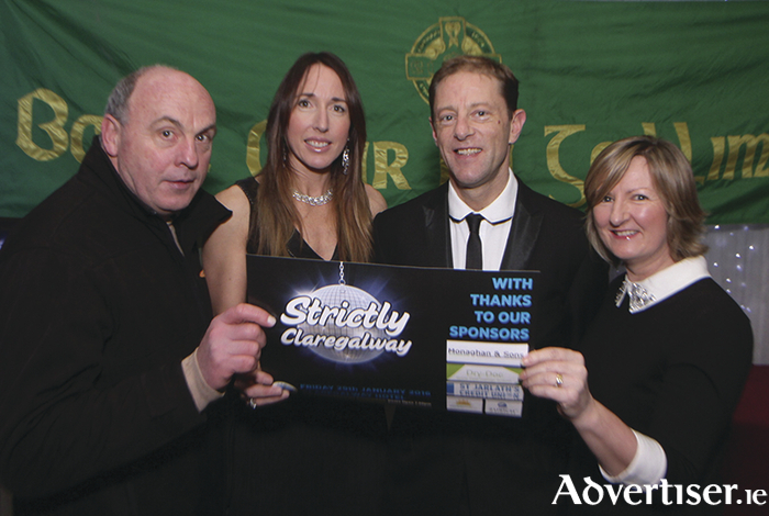Attending the launch of Claregalway GAA Club Strictly Dancing  in the Claregalway Hotel were Gabriel Kearney ( Vice Chairman), Emma Flynn and Richie Donovan (dancers), Ann Monaghan ( Monaghan & Sons Car Dealership-main sponsors)