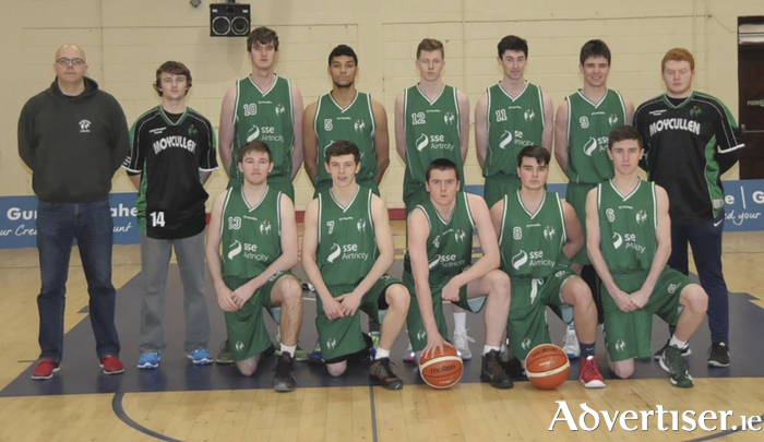 Moycullen U20 Basketball: Back row, coach Nollaig Cunningham,  Darragh Mulkerrins,  Joseph Timmon,  Josh Marvesly,  Kyle Cunningham,  Sean Candon,  Sean Kelly,  Jack Costello. Front row,  Conor Egan , Conor Curran,  John Hackett,  Rory Heffernan,  Eoin Kelly .