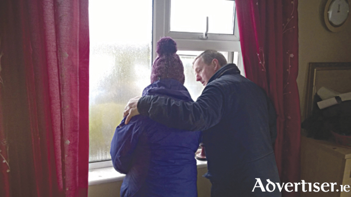 The Taoiseach Enda Kenny visited a number of homes, farms, businesses and communities affected by severe flooding over the past month. He met Eileen Connolly  in her home which was flooded in Bushfield, Roundfort.