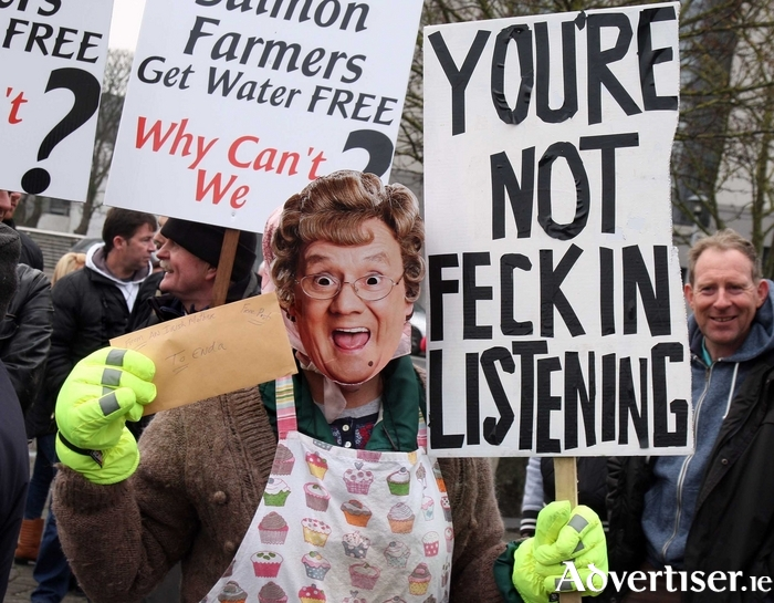 An anti water tax protester in Galway in 2014 as Mrs Brown. Photo:- Hany Marzouk