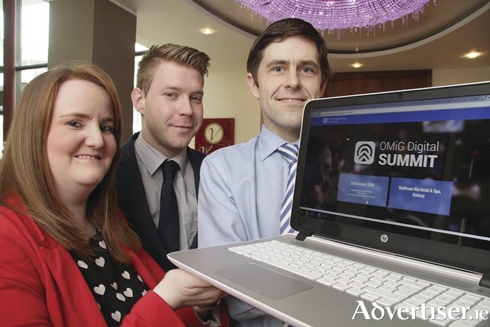 Maricka Burke Keogh, OMiG founder, and David Glynn, co-creator of the OMiG Digital Summit, with Kenneth Kelly (centre) of the Galway Advertiser, event media partner. Photo: Mike Shaughnessy.