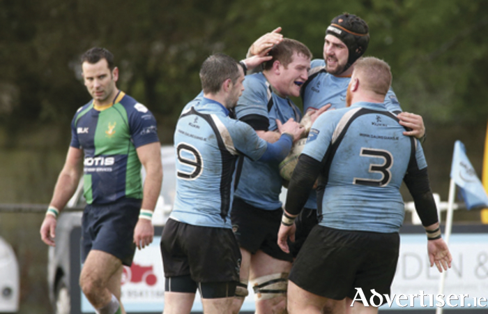 Galwegians' Dave Nolan fights to control possession against Ballynahinch RFC in the Bateman Cup semi-final at Crowley Park, which Galwegians won.  Photograph: Mike Shaughnessy