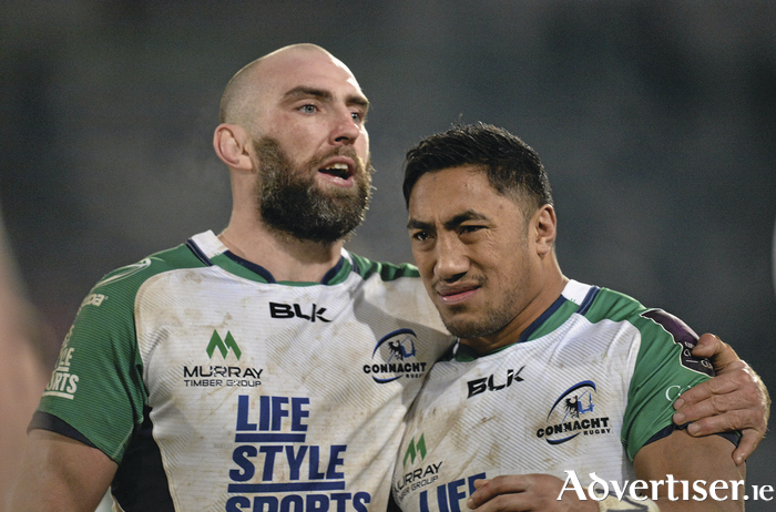 John Muldoon consoles Bundee Aki after Connacht's loss last weekend.  Photo: Sportsfile