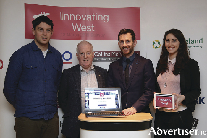Members of the organising team for the Startup Europe Week and Innovating West 2016 Events on February 4 in the Meyrick Hotel. Pictured L to R Kieran Joyce (Beolas Innovation), Eamon Howley (BEM Ireland), and David Cunningham and Ciara Deane (Innovating West).