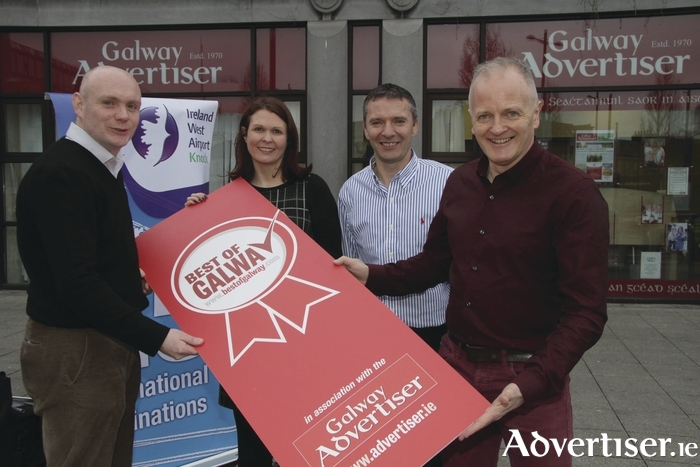 Pictured at the launch of the Best of Galway Awards (l-r) Donal Healy marketing manager Ireland West Airport Knock, Maire McCarthy sales manager Galway Advertiser newspaper, Joe Hynes financial director Galway Advertiser newspaper and Declan Varley group editor of the Galway Advertiser newspaper.   Photo:-Mike Shaughnessy