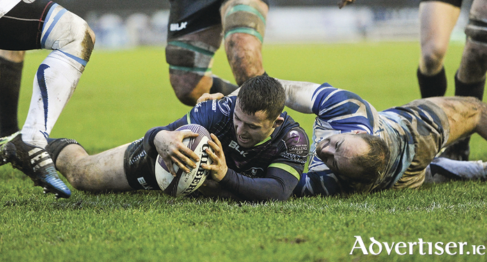 Caolin Blade, Connacht, scores their eighth try of the match against Enisei-STM last weekend in the Sportsground. Photo: Sportsfile.