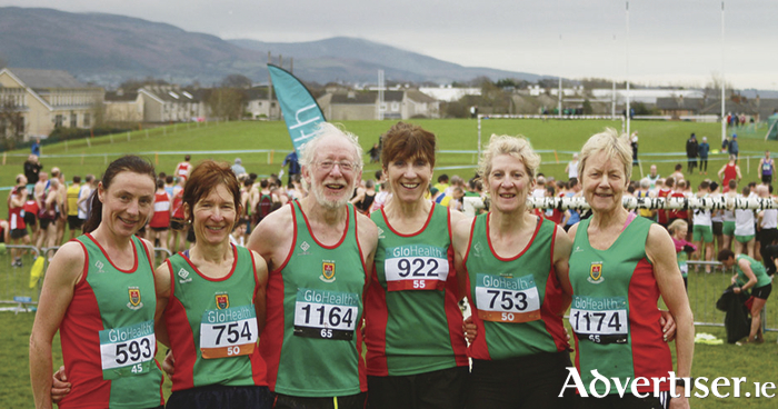 Mayo AC athletes who competed in the National Masters Cross County Championship in Dundalk. Colette Tuohy, Angela O'Connor, Tom Hunt, Pauline Moran, Ann Murray, Mags Glavey.