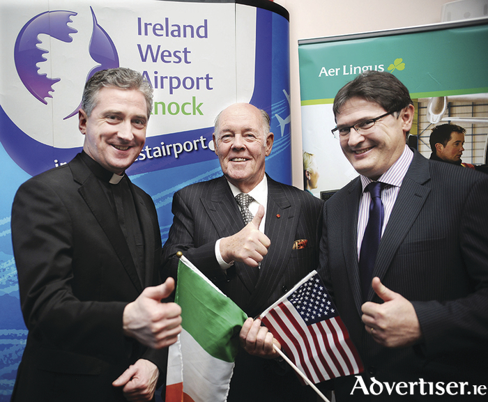 Pictured following the announcement of a new charter service between Boston and Ireland West Airport Knock in July were, left to right: Fr Richard Gibbons, (Knock Shrine), Joe Kennedy (chairman, Ireland West Airport Knock), and Joe Gilmore (managing director, Ireland West Airport Knock).