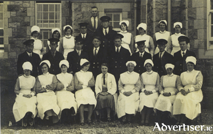 Dr Ada English, sitting centre front row, with the staff at Ballinasloe District Asylum, about 1917. She was a great admirer of Éamon de Valera. It is believed he saught refuge in the asylum when he was on the run; and later visited Ada whenever he could.