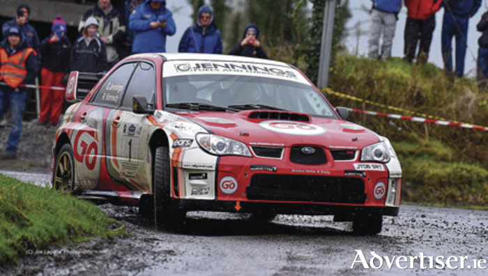 Winner of the Galway International Rally, Garry Jennings and co-driver Rory Kennedy from Co Donegal in their Subaru Impreza 555.  Photo: Joe Lagana.