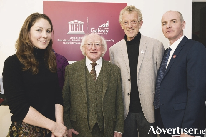Pictured at the launch of the project with President of Ireland, Michael D. Higgins are Claire Riordan, Scientific Engagement Associate in C?RAM, Professor Rhodri Ceredig, Investigator in C?RAM and Declan Gibbons, Manager of Galway Film Centre.