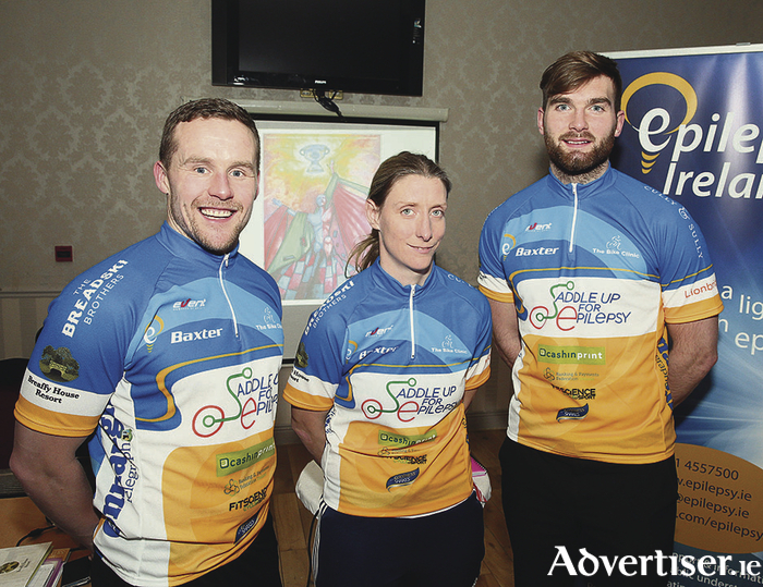 Andy Moran, Cora Staunton and Aidan O'Shea at the launch  in Breaffy House Resort of the Saddle up for Epilepsy which takes place on Saturday February 27 in Breaffy House Resort. Photo: Michael Donnelly.