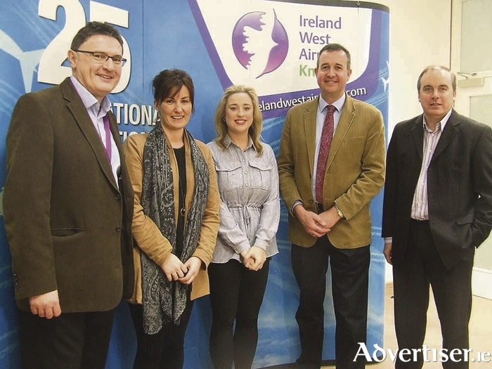 Pictured at the announcement of the charities of the year programme for 2016 at Ireland West Airport were (left to right), Joe Gilmore (managing director, Ireland West Airport), Donna Burke (Pieta House), Rachael Dooley (Cancer Care West), Tom McEvoy (Pieta House), and Mike Crowe (MS Ireland).