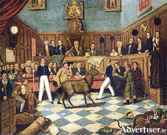 A painting by P Mathews showing the 'Trial of Bill Burns', who denied being cruel to his donkey, and would have succeeded in his plea only Martin brought the donkey into court to show its cuts and  bruises.  The judge and the court were astonished at this animal witness. The story delighted London's newspapers and music halls.