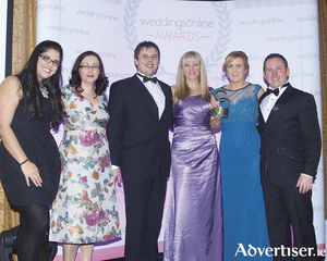 Hotel Venue of the Year Connacht - Clayton Hotel Galway,  pictured at the 2016 National Weddingsonline awards held on Monday 15th February 2016 at the Grand Hotel, Malahide,  l-r Jessica Mavare WOL, Karina Duffy, Mat Bolanovsky, Mair?ad Melody, Valerie Slattery and Jonathan Byrans WOL