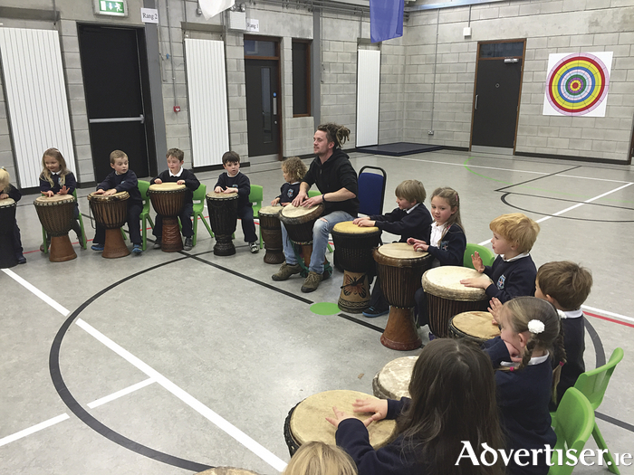 African drumming by Oughterard National School's junior infants.