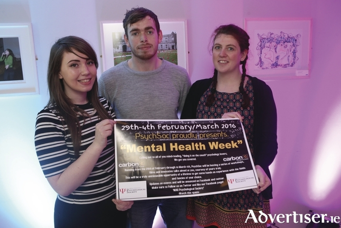 At the launch of NUI Galway's Mental Health Week are Psychology Society Committee members Soraya Matthews, Aaron McGrath, and Meagan Lynch.