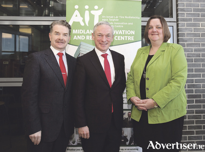 Professor Ciarán Ó Catháin, president of AIT, Richard Bruton, Minister for Jobs, Enterprise and Innovation, and Deputy Gabrielle McFadden