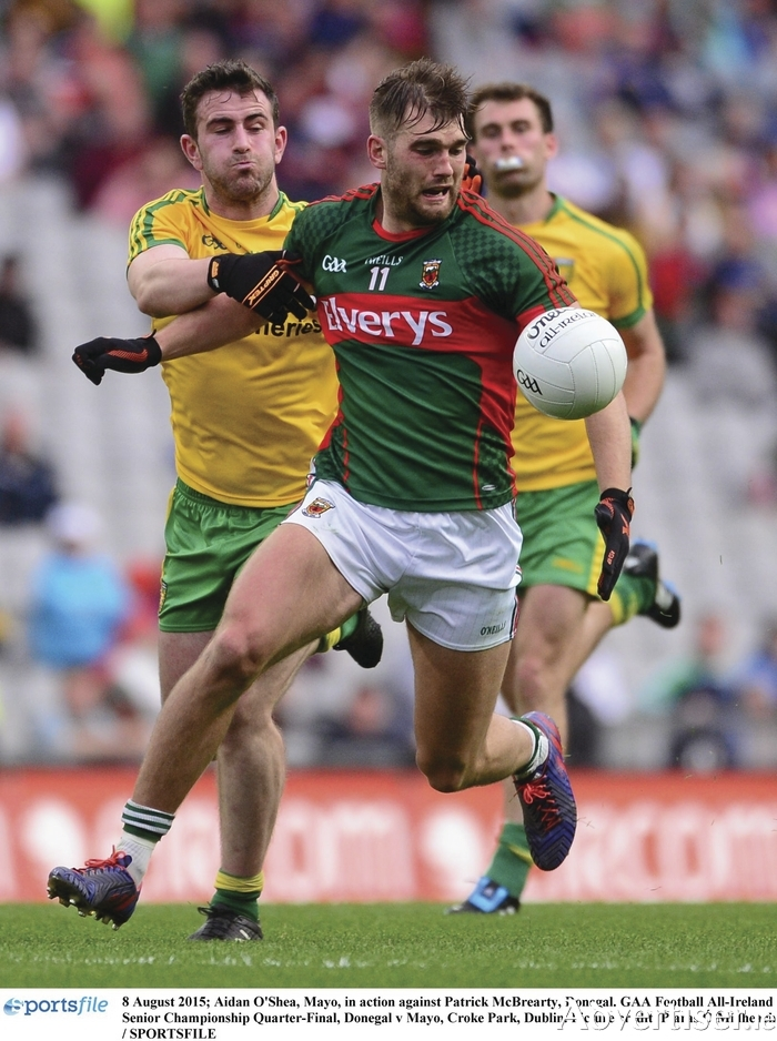 My ball: Aidan O'Shea and Patrick McBrearty will be renewing rivalries this Sunday. Photo: Sportsfile