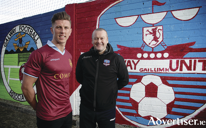 Galway United scorer John O'Sullivan, with manager Tommy Dunne who will face his old club Bray Wanderers on Friday night at Eamonn Deacy Park.  				Photo:-Mike Shaughnessy