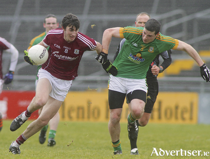 Enda Tierney of Galway and Donnacha Tobin of Meath in action from from the Allianz National Football league game at Pearse Stadium on Sunday. Photo:-Mike Shaughnessy