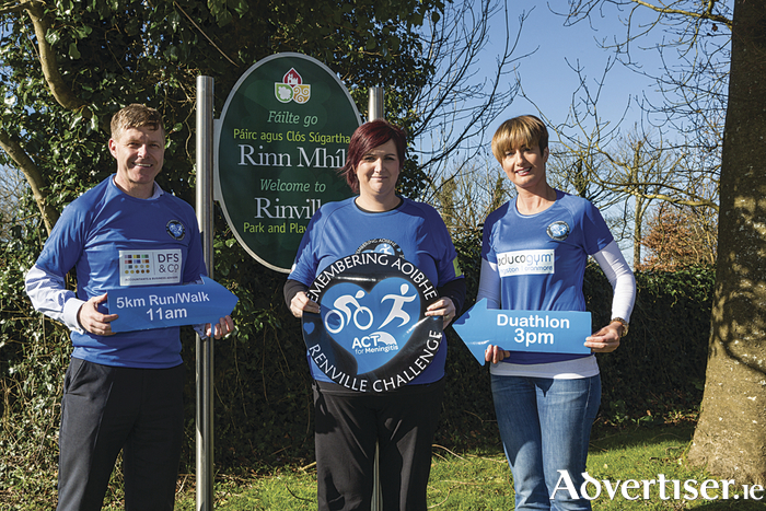Pictured at the launch of the Remembering Aoibhe Renville Challenge  2016 are Alan Shaughnessy, DFS & Co Accountants Galway, Siobhan Carroll of ACT for Meningitis, and Mary Davin, Educogym Galway.